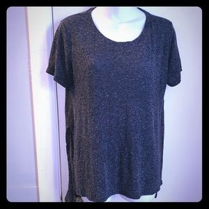 BERSHKA Grey Space Dye Hi Low T-Shirt-L